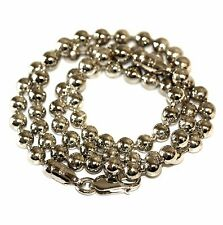"925 sterling silver beaded 20"" necklace 5mm vintage ladies estate antique 31.3g"