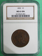 1853 Braided Hair Large Cent Copper Type Coin One-Cent NGC Certified MS 61 UNC
