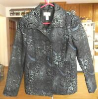 Chico's Blue Teal Black Paisley 3 Button Blazer Jacket Lightweight Lined Size 0