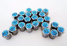4 Ventilkappen mit Reifenmarkierung blau Metall Reifen Auto Ventil Kappe PKW Kfz