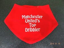 PERSONALISED BABY BIB  FUN GIFT MAN U FAN - BEAUTIFULLY EMBROIDERED ANY NAME