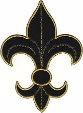 SCA Black Satin Metallic Gold Fleur De Lys Lis Embroidery Patch