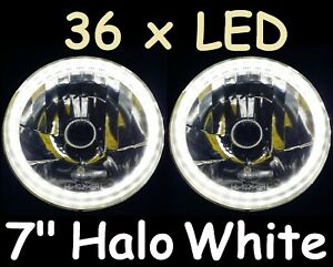 "WHITE 7"" JTX Round LED Ring Halo Angel Eye Headlights Head Lights H4 Semi Sealed"