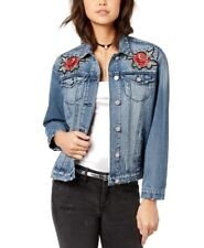 Crave Fame Rose Applique Studded Denim Distressed Jacket NWT Medium