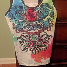 1312067ba03 Women s Rose Tattoo teal lime pink Sport Top Exercise Yoga Top size XL  colorful