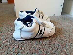 Polo Ralph Lauren Boys Baby Leather White and Blue Shoes Size 2