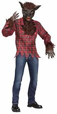 Mens Werewolf Costume Big Bad Wolf Brown Fur Mask Plaid Shirt Gloves Adult NEW