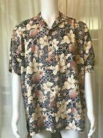 Hilo Hattie Floral Hibiscus Pineapple tan Brown black camp hawaiian shirt XXL