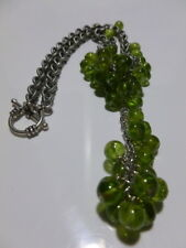 """UNIQUE LARGE PERIDOT CLUSTER STERLING SILVER WOMENS DESIGNER NECKLACE 15.5"""""""