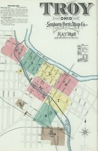 Troy, Ohio Sanborn map sheets in color made in 1892 with 10 maps on CD