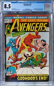 AVENGERS #97 CGC 8.5 WHITE PAGES! RETURN OF CLASSIC TIMELY GOLDEN AGE HEROES!