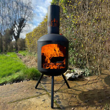 More details for log-barn chiminea steel firepit - garden outdoor wood burner contemporary design