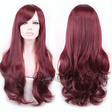 Hot Beauty Women Red Wine Ombre Long Curly Wavy Lace Front Cosplay Hair Full Wig