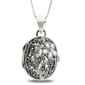 925 Sterling Silver Oval Keepsake Locket Necklace Victorian Style Antique
