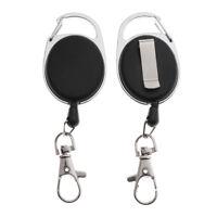 2pcs Utility Mini Key Chain Carabiner Badge Key Extendable Reel Retractor