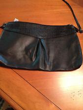 Black leather purse with long shoulder strap - excellent condition