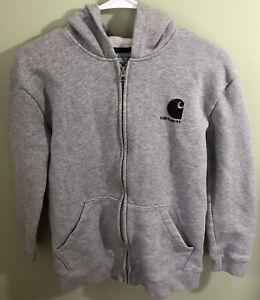 Carhartt Boys Full Zip Up Hoodie Sweatshirt Gray Size Large (14-16)