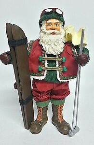 "Santa Hits the Slopes 11"" Skiing Christmas Figurine Fabric Wood Snow Skis Skier"