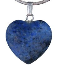 Dumortierite Blue Heart Amulet Pendant Gemstone With Silver-Plated Eyelet 2x2cm