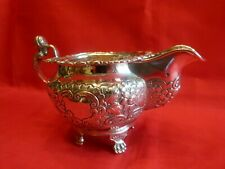 RARE IRISH GEORGIAN 1821 HEAVY SOLID SILVER BELLY SPOUTED GRAVY OR SAUCE BOAT.