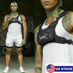 Mens Harness Chest Rig Bag Front Pack Pouches Running Backpack Cell Phone Vest