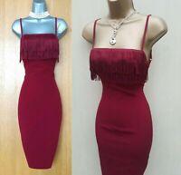 KAREN MILLEN UK 10 Maroon Red Strappy Open Back Pencil Cocktail Fringed Dress 38