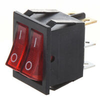 Red Light Illuminated 6 Pin Dual SPST ON/OFF Boat Rocker Switch AC 15A/250V U3N1
