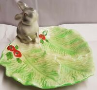 Vintage Australian Pottery Wembley Ware Rabbit on Lettuce Leaf Dish c1950s stain