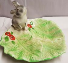 Vintage Australian Pottery Wembley Ware Rabbit on Lettuce Leaf Dish c1950s stain
