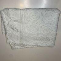 vintage lace tablecloth color white floral print scalloped ending 50x74