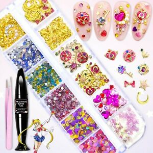 Sailor Moon Nail Art Charms Rhinestones FULL DECO SET w Nail Glue Gel & Tweezers
