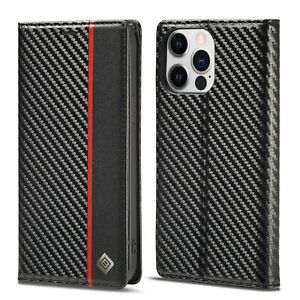 Carbon Fiber leather Flip Case Magnetic Cover For iPhone 13 /13 Pro Max 12 Pro X