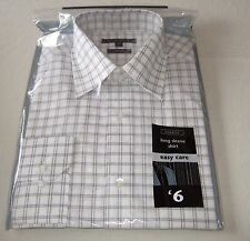 "GEORGE LONG SLEEVED GREY CHECKED SHIRT 15.5""/40cm NEW"