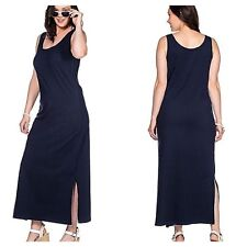 Sheego @ Freemans Plus Size 22 Black Casual Luxury Jersey Sleeveless Maxi DRESS
