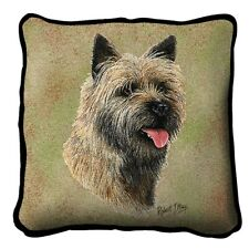 """Cairn Terrier"" Tapestry Pillow, 17""x17"", Robert May, Pure Country Weaver's"