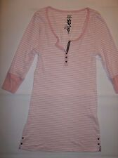 BETSEY JOHNSON STRIPED SLEEP SHIRT PAJAMAS BLACK HEART BUTTONS (pink / white)  M