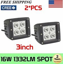 2X 16W Cube Pods Spot LED Lights CREE Off Road Truck ATV Fog Driving Lamp Square