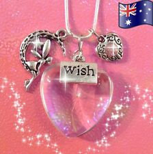Fairy Wish Magic Solid Glass Heart Flora Pendant 925 Sterling Silver Necklace