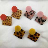 Women Geometric Boho Dangle Drop Hook Acrylic Resin Ear Stud Earrings Jewelry