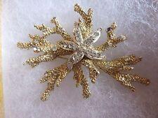 Vintage Brooch coral starfish rhinestone Pin 11 W. 30 ST INC..Signed
