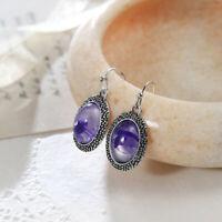 Woman Vintage Shaped Purple Amethyst Gemstone Silver Dangle Hook Earrings New