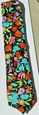 Colorful Mod Flowers Design Silk Tie by Point Carre of Beverly Hills
