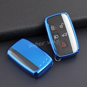 FOR Range Rover/Land Rover/Jaguar Blue TPU Soft Shell Car Smart Key Case Cover