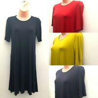 Ladies Ex M&S Casual Half Sleeve Jersey Dress Black, Red, Navy, Ochre Sizes 6-22