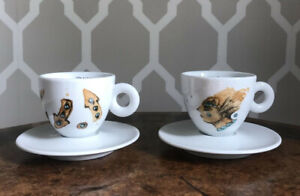 2 x Limited Edition illy Coffee Cups Espresso Max Petrone VGC