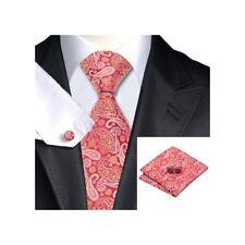 Para hombre Premium Red & Gold Paisley 100% Seda Cuello Corbata Bolsillo Plaza & Mancuerna Set