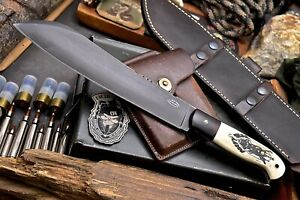 CFK Handmade 1095 Custom MILITARY Scrimshaw Bone Hunting Parang Machete Knife