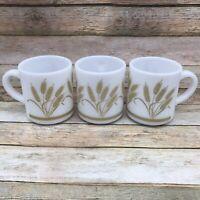 3 Vintage Hazel Atlas Milk Glass Mugs Golden Harvest Wheat Pattern 50's Stacking