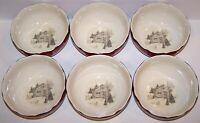 STUNNING 222 FIFTH SET OF 6 ANDOVER RED CHRISTMAS HOLIDAY SOUP/CEREAL BOWLS