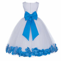 WHITE ROSE PETAL WEDDING BIRTHDAY PAGEANT FLOWER GIRL DRESS S M 2 4 6 8 10 12 14
